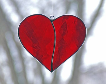 Valentine's Day Gift Heart Stained Glass Heart from Drawn Antique Glass