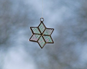 """Celestial Home Decor - Stained Glass Star from Iridescent Cord Glass 2"""""""