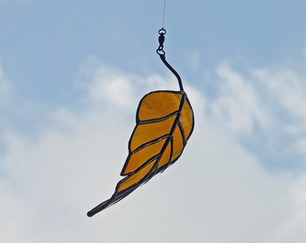 Glass Elm Leaf from Recycled Amber Bottle, Unique Wedding Gift, Anniversary Gift, Wedding Decor