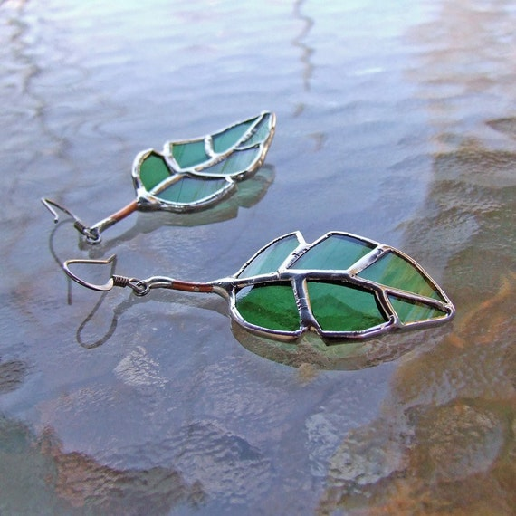 Elm Leaf Earrings - Recycled Green Glass - Mother's Day Gift Mother's Day Jewelry Eco Friendly Jewelry