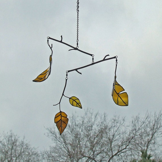 Elm Leaf Mobile from Reclaimed Amber Beer Bottle Glass