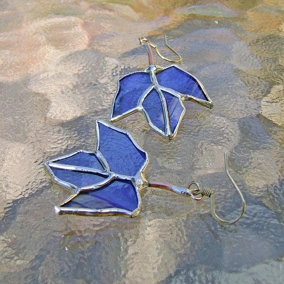 Blue Maple Leaf Reclaimed Wine Bottle Glass Earrings, unique wedding gift, anniversary gift