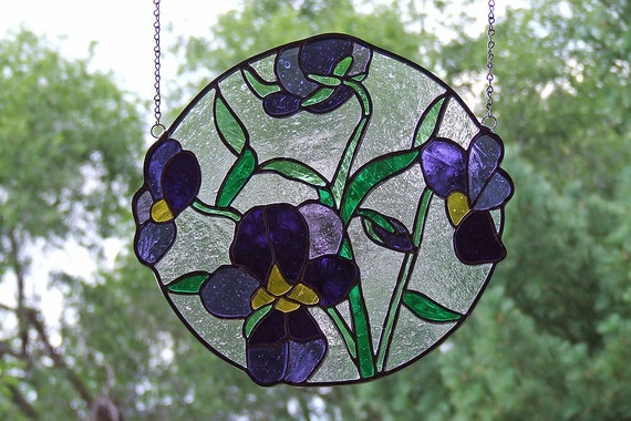 Stained Glass Violets Stained Glass Panel, Unique Stained Glass Home Decor, Stained Glass Mother's Day Gift