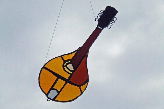 Art Glass Mandolin 1914 Gibson A3 - Stained Glass Mandolin - Glass Mandolin Sun Catcher