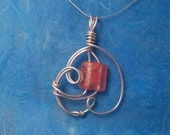 CLEARANCE.....Smoking Roses wrapped silver wire pendant with pink bead