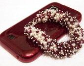 Garnet and Pearl Cluster Bracelet