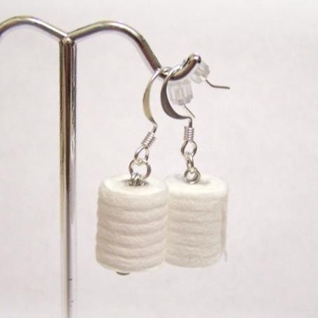 novelty toilet paper earrings