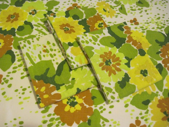 Vintage Brown Yellow and Green Floral Reclaimed Bed Linen Fat Quarters