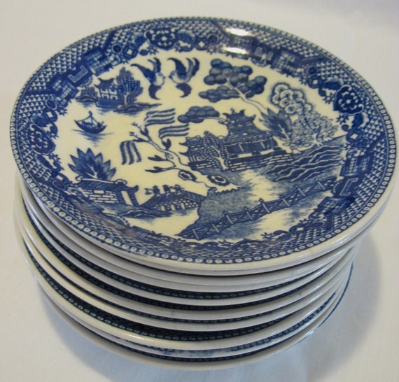 10 Blue Willow Pattern Six Inch Saucers
