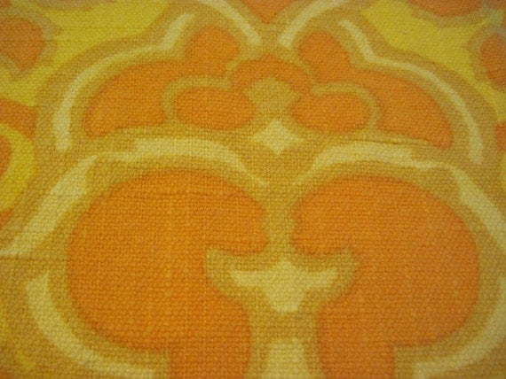 Bright Orange and Yellow Home Decor Fabric Remnant