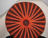 vintage hand knit poof pillow brown and orange