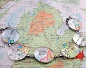 YOU CHOOSE Six Locations U.S. or International Custom Atlas Map City State Glass Marble Bracelet on Silverplated Form