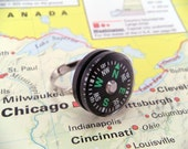 Working Which Way Do We Go Compass Silverplated Ring Lost Direction Travel