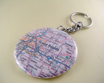 Custom US Atlas Map or International Atlas Map Location 2 1/4 Inch Button Keychain
