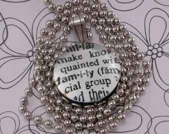 Glass Marble Dictionary Definition Necklace Pendant FAMILY with 18 Inch Ballchain