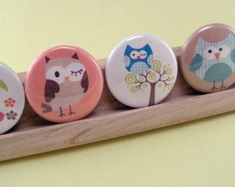 Owl Stampede Set of Five (5) One Inch Owl Button Magnets