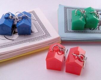 Monopoly Hotel Token Pierced Earrings Game Piece Red Blue Green