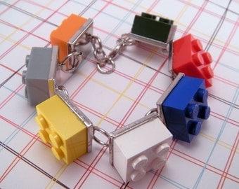 Rainbow Sherbert Game Piece Tile Brick 7 Inch Bracelet with Extender