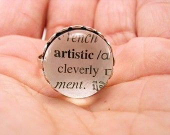 Custom Word Dictionary Definition Adjustable Silverplated Ring