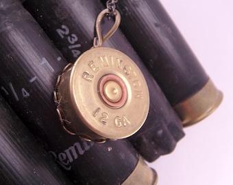 Annie Get Your Gun Remington 12 Gauge Bullet Necklace Pendant with 18 Inch Brass Chain