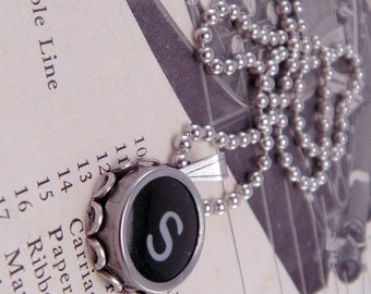 Vintage Typewriter Key Necklace Pendant Letter S with 16 Inch Ballchain