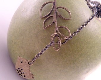 Mini Modern Bird and a Branch Brass Lariat Necklace Pendant with 20 Inch Curb Chain