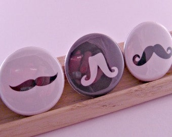 Mustache Moustache Madness Kitsch 1 Inch Button Pins Pinbacks Backpack Pins
