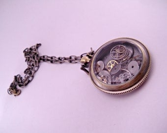 Industrial Steampunk Brass Pocket Watch Body Filled With Watch Parts on 18 Inch Brass Chain