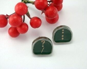 Custom Vintage Typewriter Key Post Earrings You Choose Letter Symbol Number