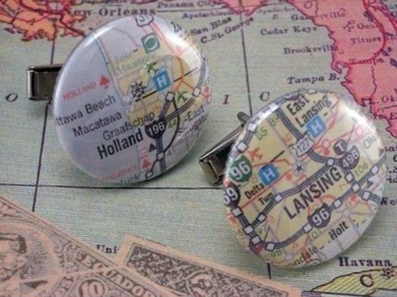 Kitsch 1 Inch Button International or US Locations Custom Cities or Towns Atlas Map Cufflinks Cuff Links
