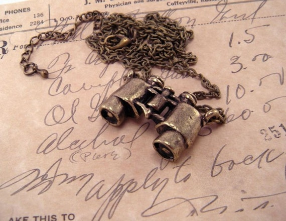 Mini Brass Binocular Necklace Pendant with  25 Inch Brass Cable Chain and Extender