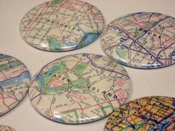 Custom U.S. or International Location Atlas Map City or Town or State Button Magnets