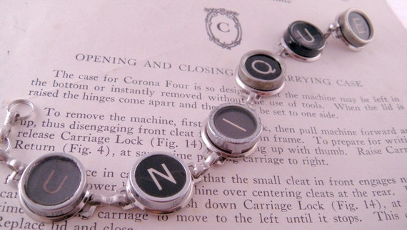 YOU CHOOSE Any Six Keys Vintage Typewriter Key Bracelet 7 Inches