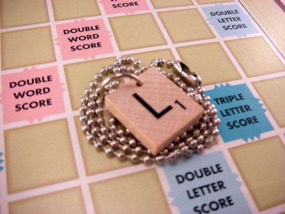 Wood Scrabble Tile Necklace Letter L with 16 Inch Ballchain