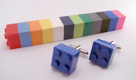 YOU CHOOSE COLOR Game Piece Tile Plate Block Plastic Square Cufflinks Cuff links Dork Nerd Geek Punk Retro Rad