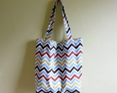 Large Cotton Canvas Tote Bag / NATURAL CHEVRON Zig Zag Print