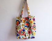 Large Tote Bag / VINTAGE FLORAL Cotton 1970s Folk Art Tote Bag