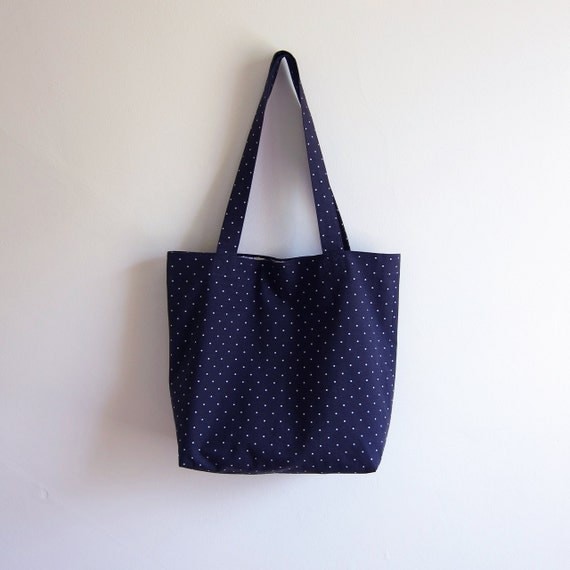 Large Tote Bag / The Black & White POLKA DOT Pop Art Tote Bag