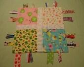 Ribbon tag toy,ribbon blanket, tag lovey, tag toy, sensory tag toy, sensory ribbon tag toy, girl tag toy, mini sensory security blanket RTS