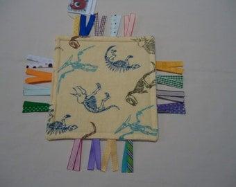 Ribbon tag toy for sensory learning, ribbon tag development toy, ribbon tag lovey, travel ribbon tag toy, pocket mini security blanket TB8