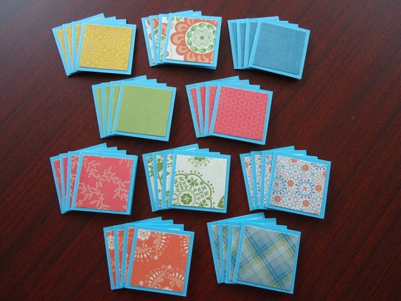 40 little assorted shop notecards 2x2 lot 1 BLOOM