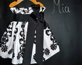 Paper Bag SKIRT and SASH - Vicki Payne - Damask - Pick the size Newborn up to 12 Years by Boutique Mia
