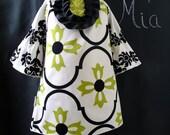 Tuxedo Mini DRESS - Vicki Payne - Damask - Pick the size Newborn up to 12 Years - by Boutique Mia