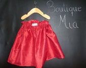 Paper Bag SKIRT - Red Dupioni Silk - Pick the size Newborn up to 12 Years by Boutique Mia