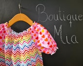 CHILDREN - Shirred Peasant TOP - Riley Blake - Zig Zag  - Pick the size Newborn up to 12 Years by Boutique Mia
