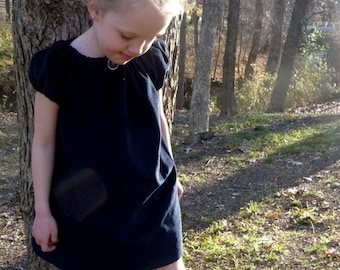 CHILDREN -Peasant Mini Dress - Navy Blue Corduroy - Pick the Size Newborn to 12 Years - by Boutique Mia