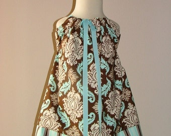Pillowcase DRESS - Joel Dewberry - Expresso Damask - 2 Years of Fashion - Pick the size Newborn up to 12 Years - by Boutique Mia