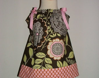 Pillowcase DRESS - Amy Butler - Olive Lacework - 2 Years of Fashion - Pick the size Newborn up to 12 Years - by Boutique Mia
