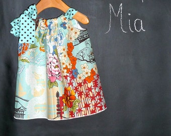 CHILDREN -Pillowcase DRESS - Alexander Henry - Koto - 2 Years of Fashion - Pick the size Newborn up to 12 Years - by Boutique Mia