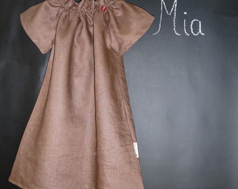 Peasant Mini DRESS - Linen and Cotton - Pick the size Newborn up to 12 Years by Boutique Mia